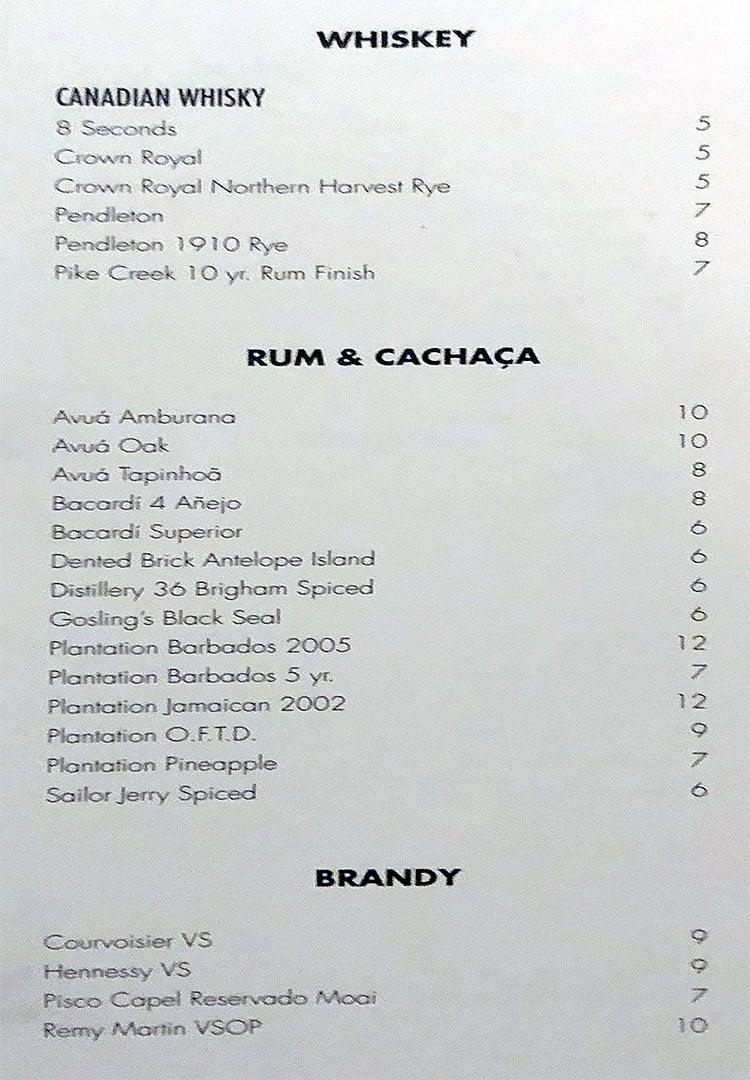 The RUIN menu - whiskey, rum, cachaca, brandy