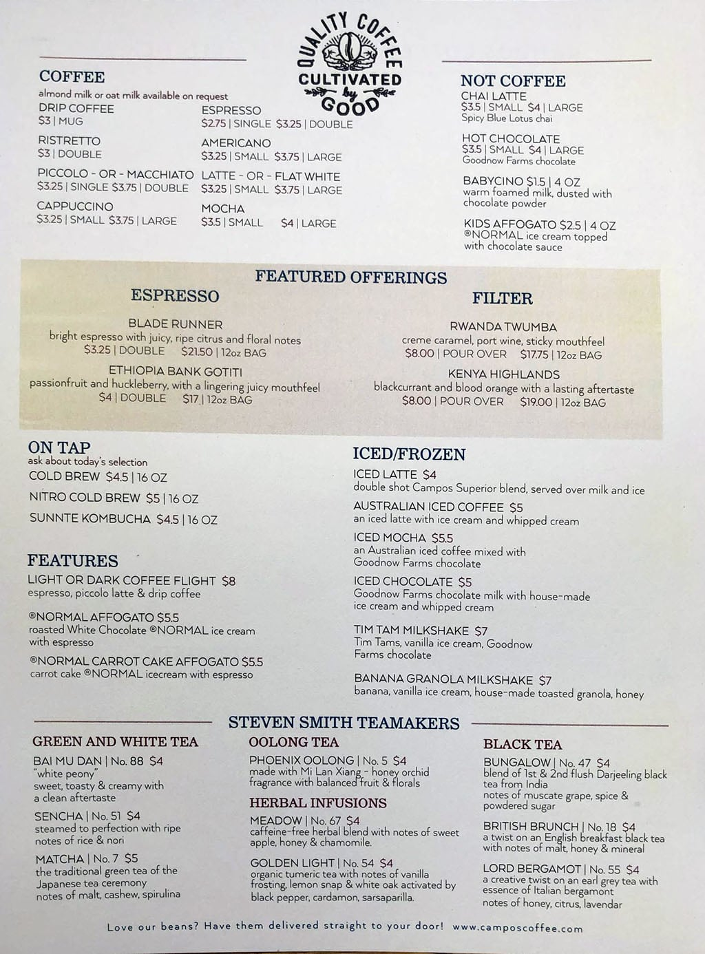 Campos Roastery And Kitchen menu - coffee, tea, drinks