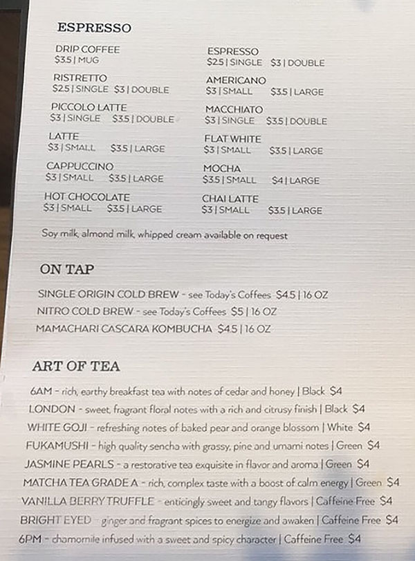 Campos Roastery And Kitchen menu - espresso, on tap, tea