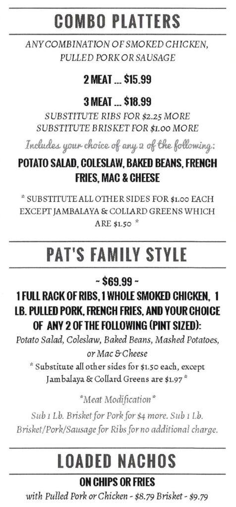 Pat's BBQ menu - combos