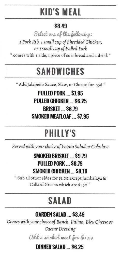 Pat's BBQ menu - kids, sandwiches, salads