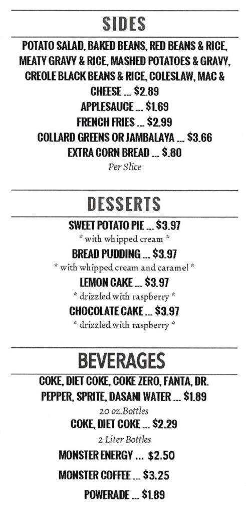 Pat's BBQ menu - sides, desserts, drinks