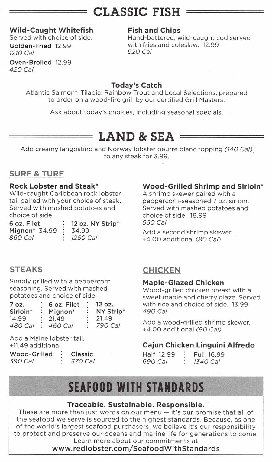 Red Lobster menu - classic fish, land and sea