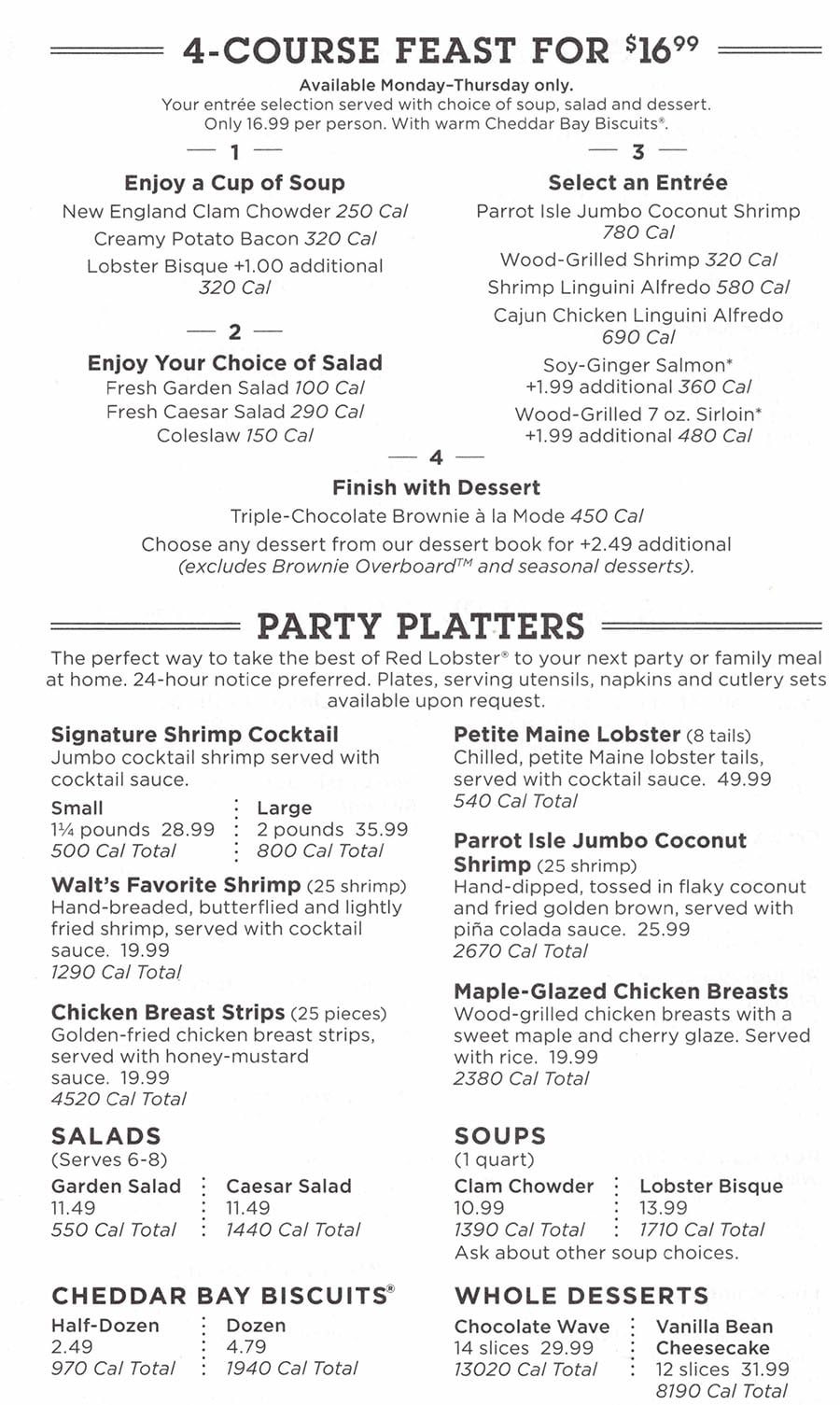 Red Lobster menu - four course feast, party platters