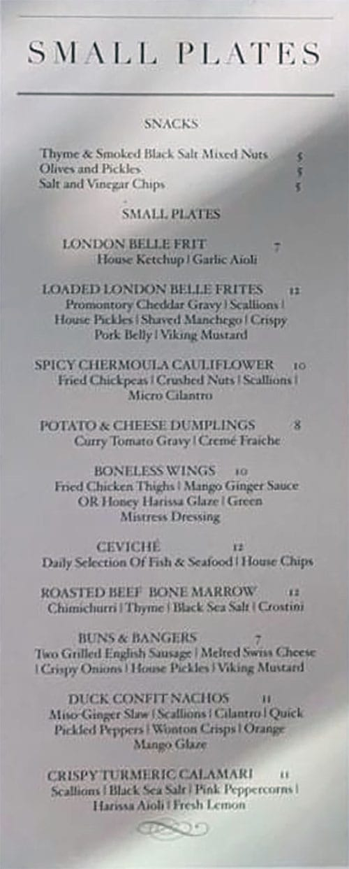London Belle menu - small plates