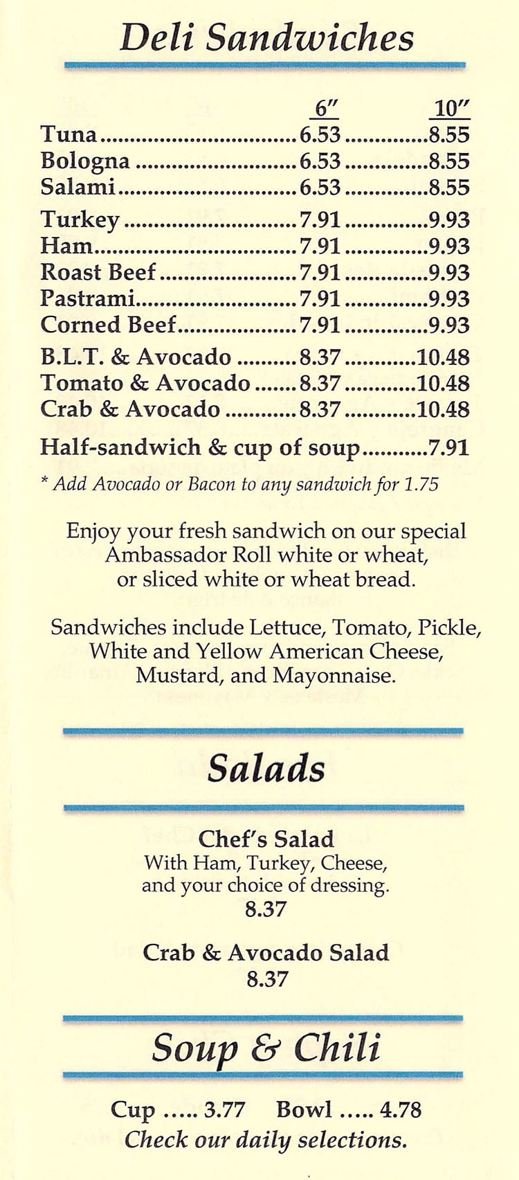 That Sandwich Shop menu - deli sandwiches, soup, salads, chilli