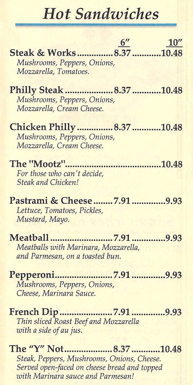 That Sandwich Shop menu - hot sandwiches