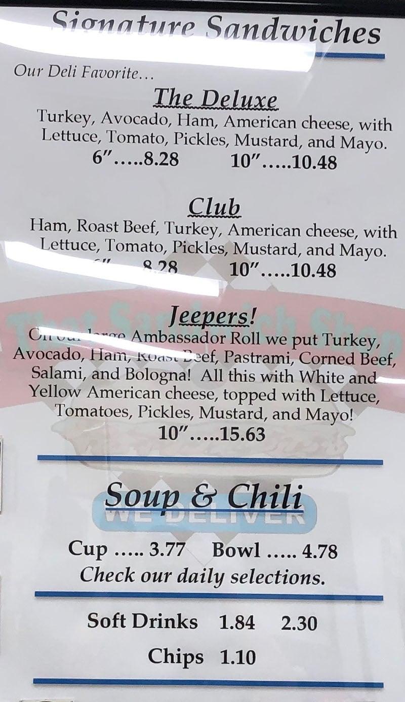 That Sandwich Shop menu - signature sandwiches