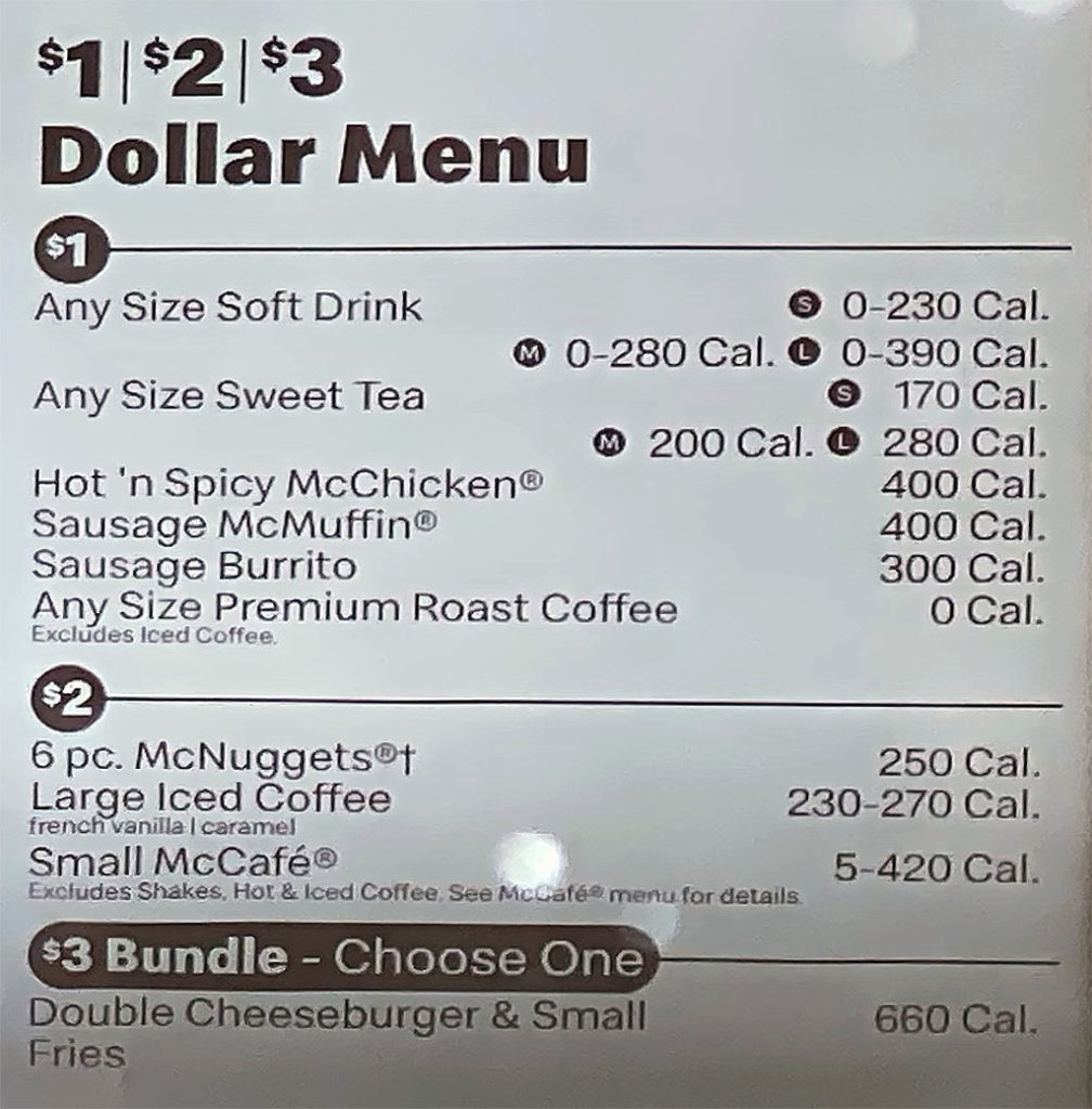 McDonald's menu - dollar menu
