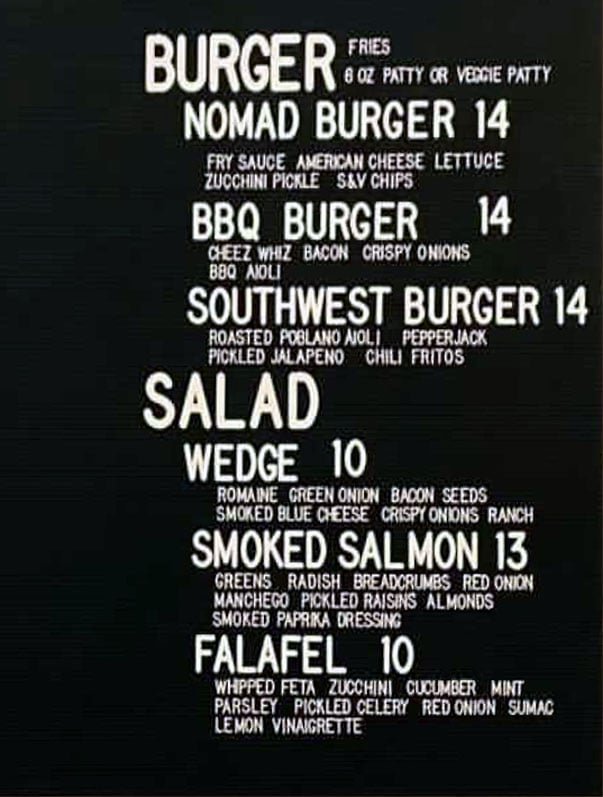 Nomad Eatery at Uinta Brewpub menu - burger, salad
