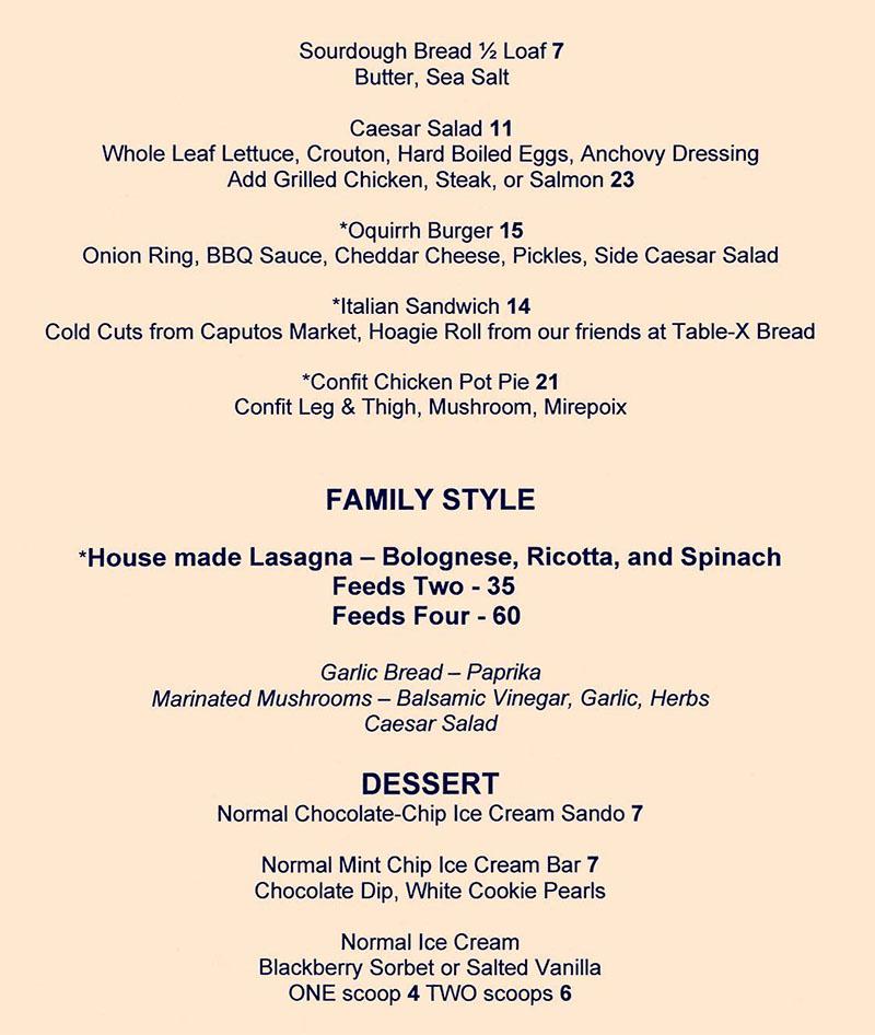 Oquirrh curbside pikcup menu