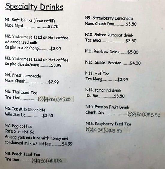 Pho Hong Chau menu - specialty drinks