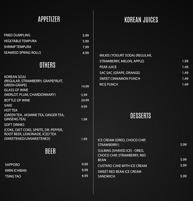 EJO Korean BBQ menu - appetiers, others, beer, juices, desserts