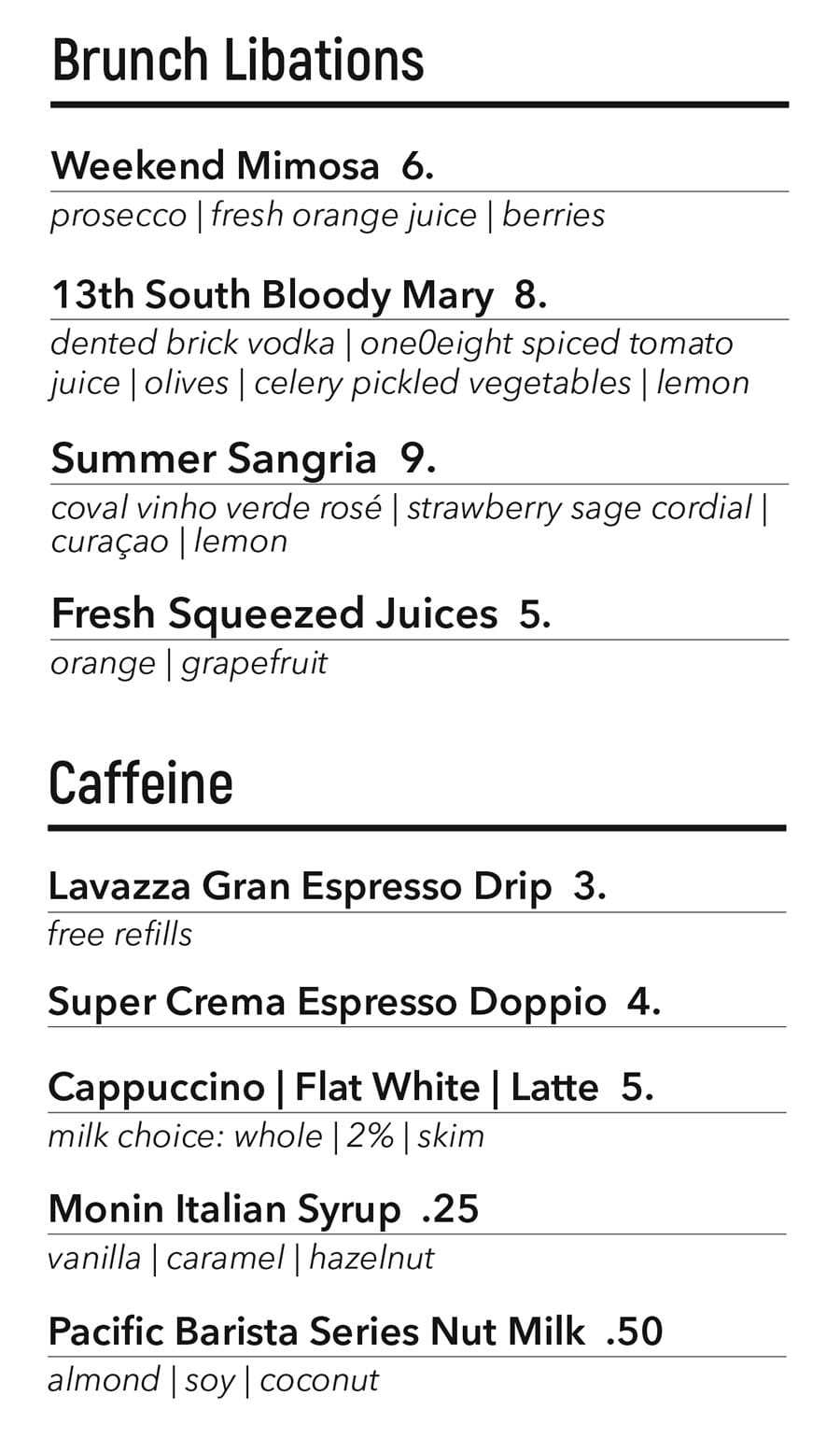 One O Eight brunch menu - drinks
