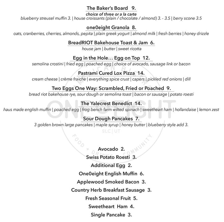 One O Eight brunch menu - food