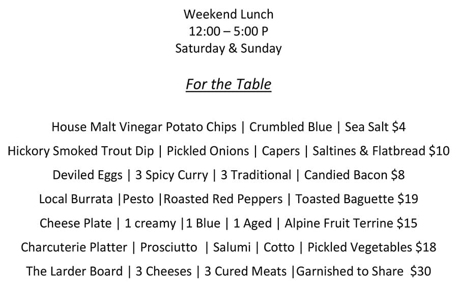One O Eight weekend lunch menu - for the table