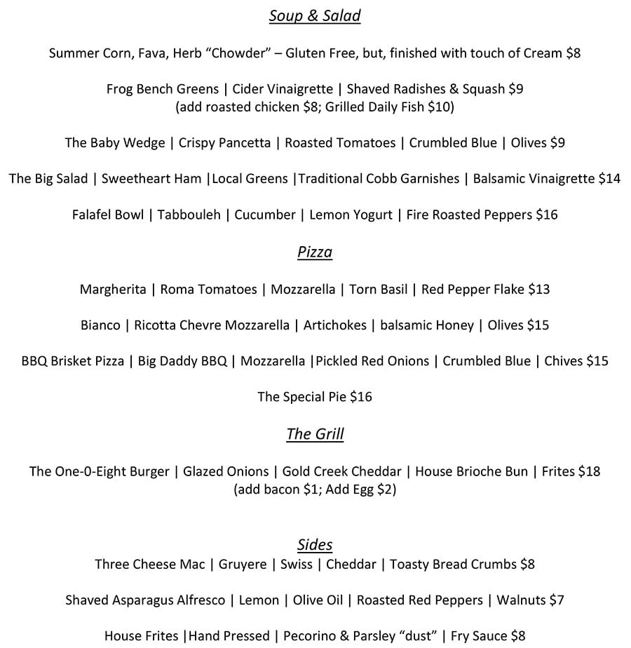 One O Eight weekend lunch menu - pizza, soup, salad, entees, sides