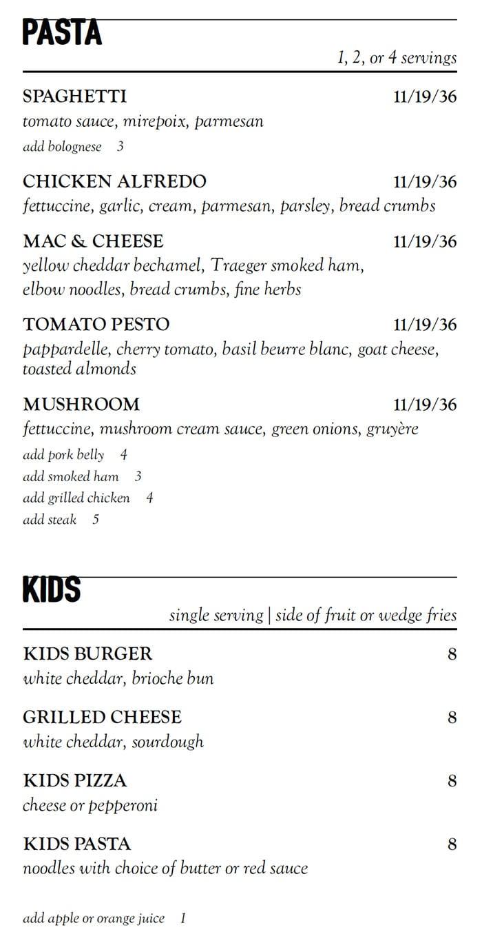 Stratford Proper curbside menu - pasta, kids