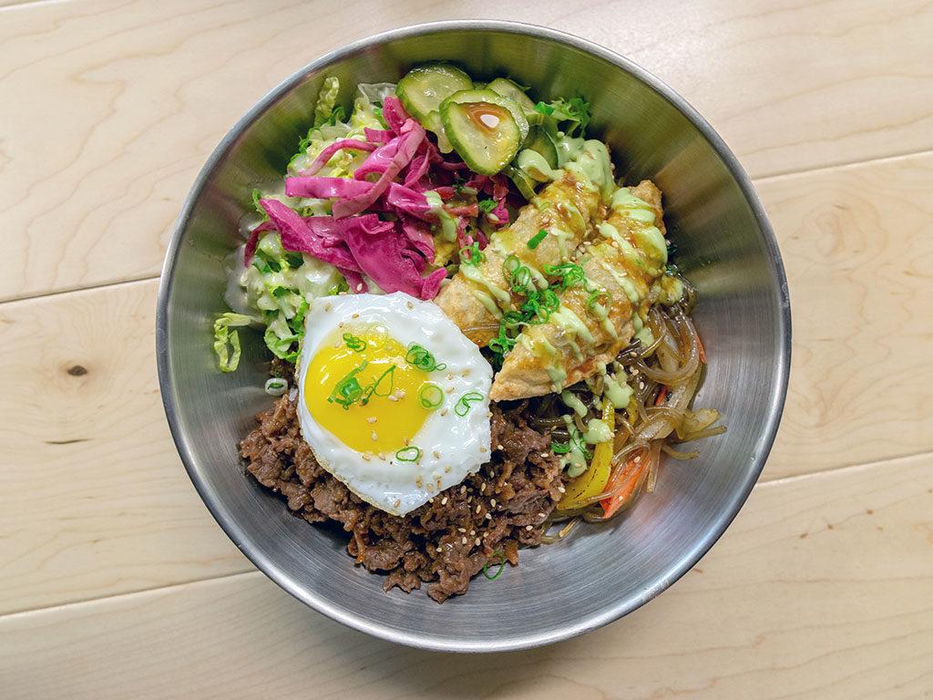 Angry Korean - rice bowl with mandoo