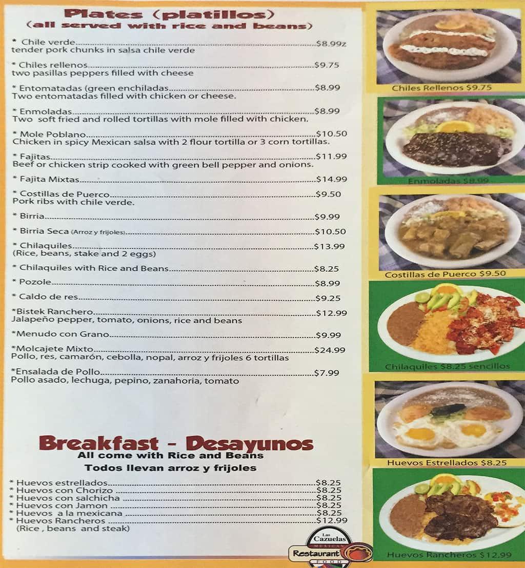 Las Cazuelas menu - plates, breakfast