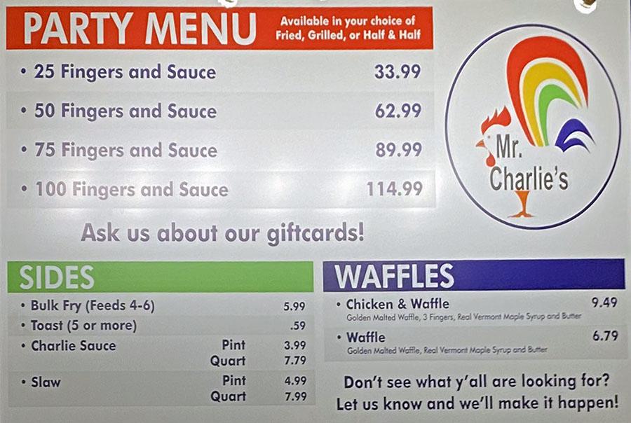 Mr Charlie's Draper menu - party menu, sides, waffles