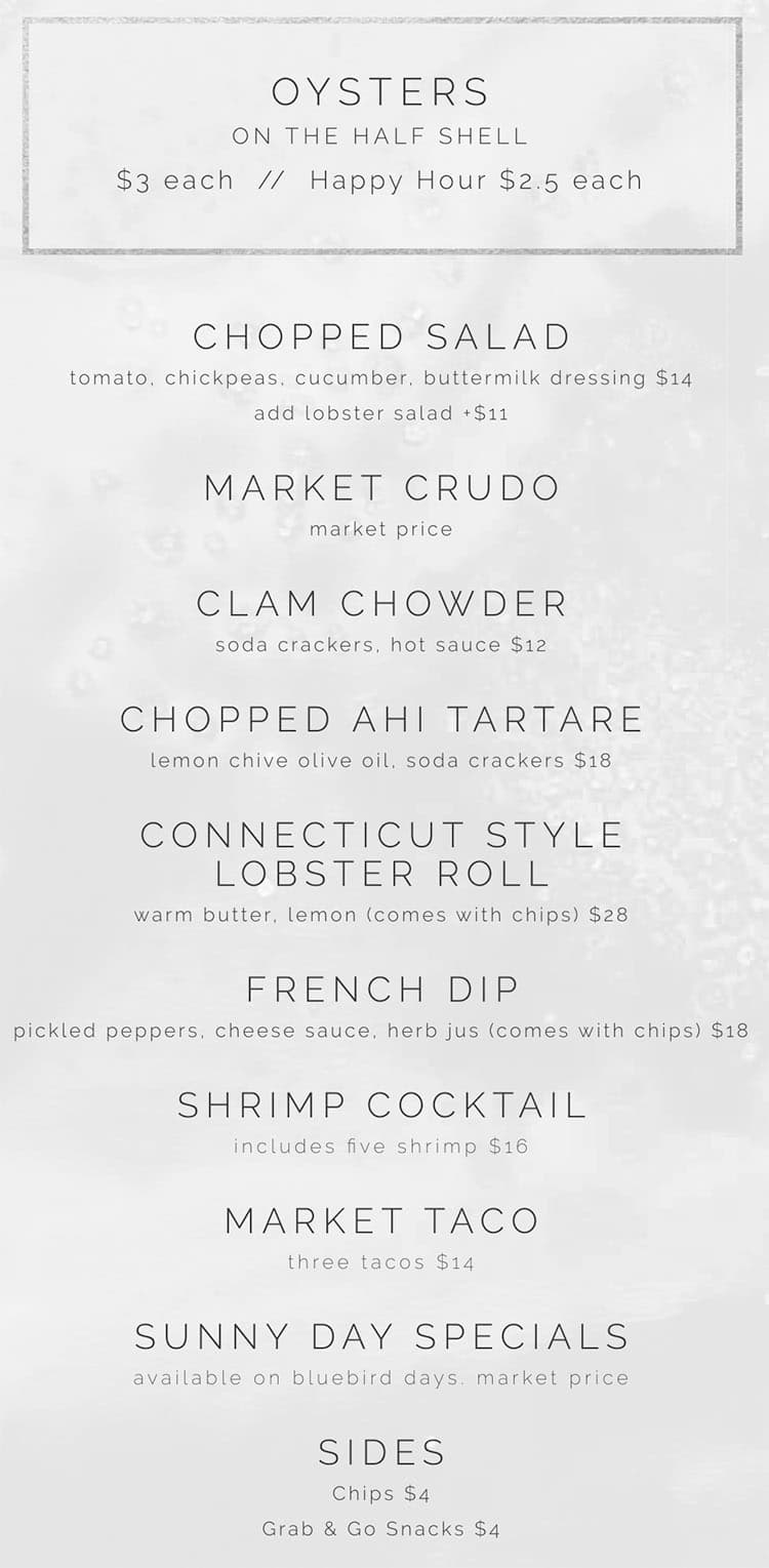 RIME Raw Bar menu - food