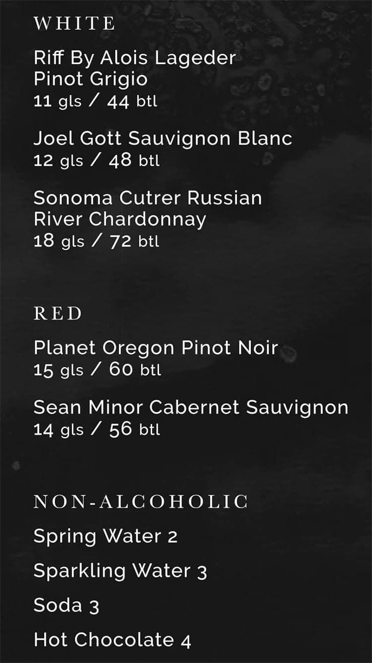 RIME Raw Bar menu - wine, non alcoholic