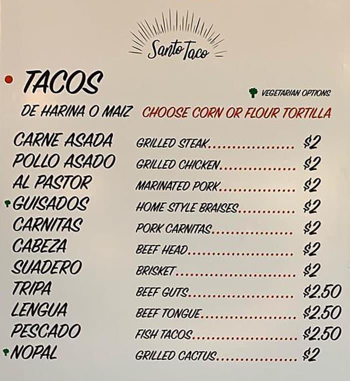 Santo Tacos menu - tacos