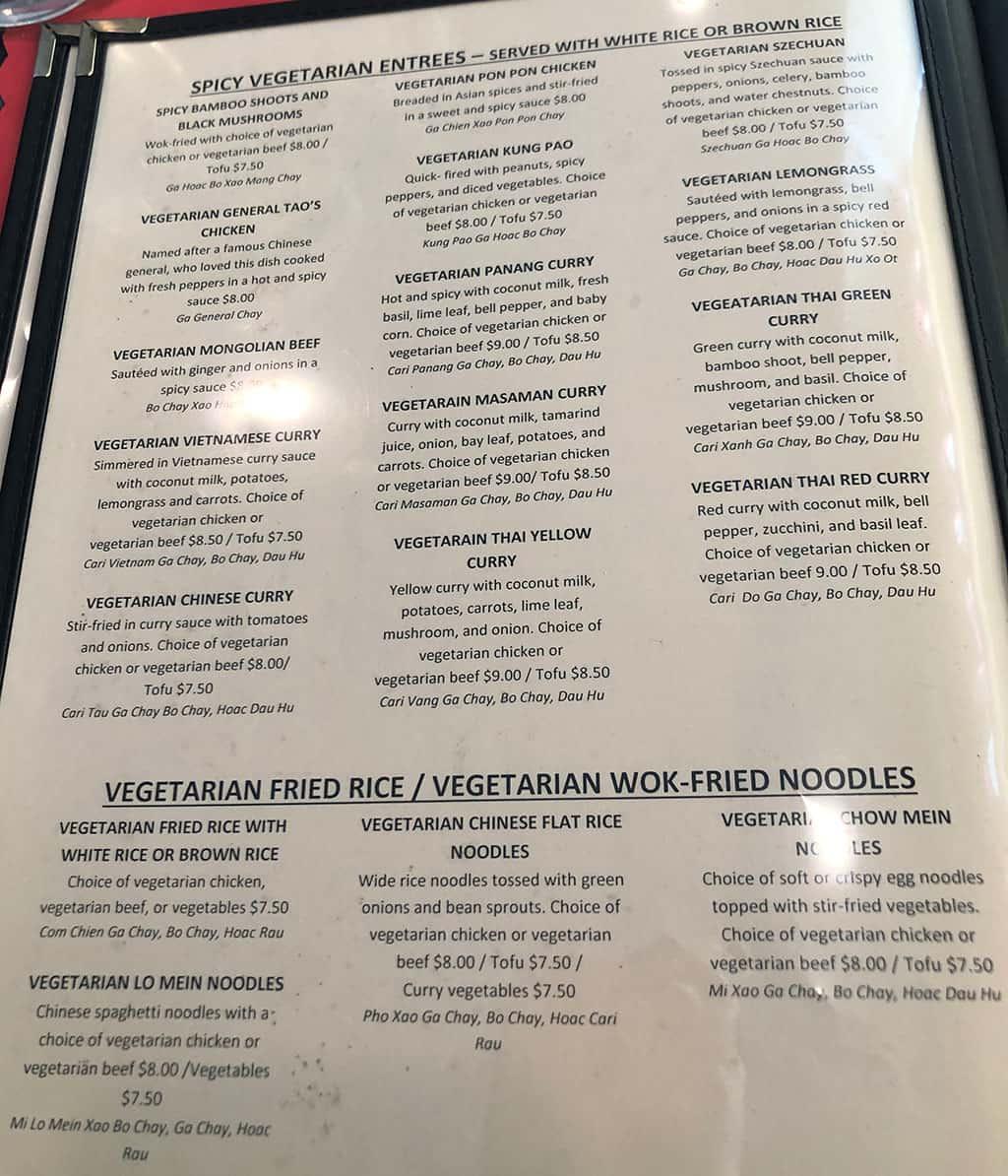 Shanghai Cafe menu - spicy vegetarian entrees, fried rice, fried noodles