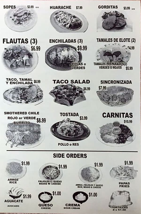 Tacos Blanquita menu - more items, sides
