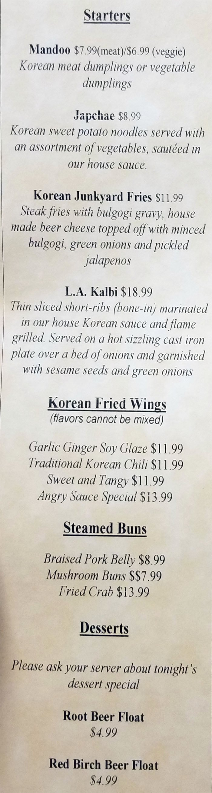 The Angry Korean dinner menu - starters, desserts