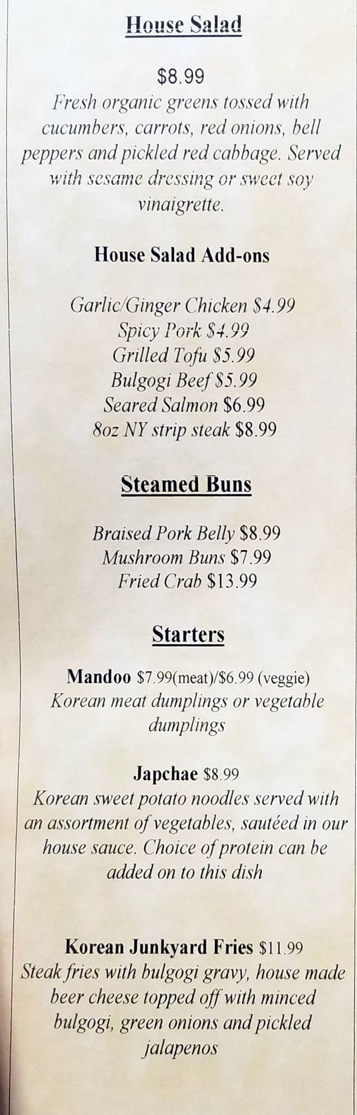 The Angry Korean lunch menu - salad, buns, starters