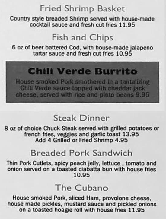 The Black Sheep Bar And Grill menu - dinner