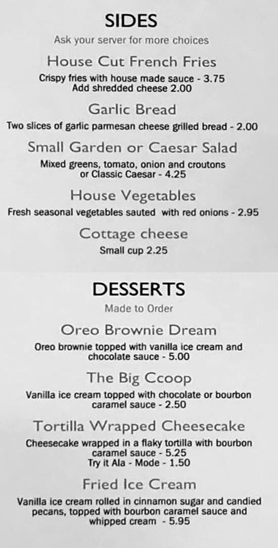 The Black Sheep Bar And Grill menu - sides, desserts