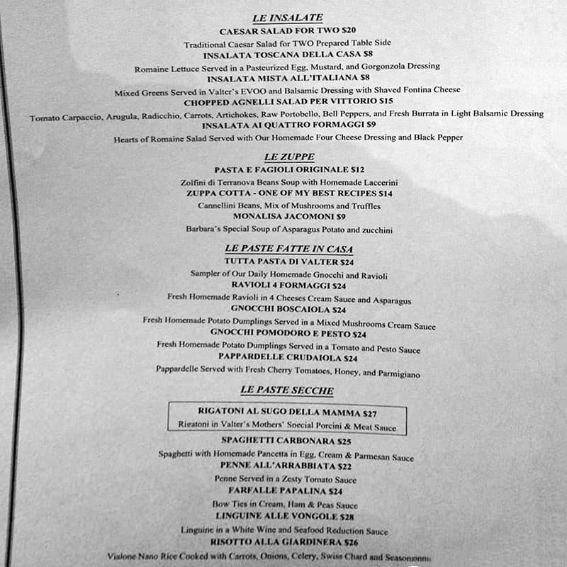 Valter's Osteria menu - le insalate, le zuppe, le paste