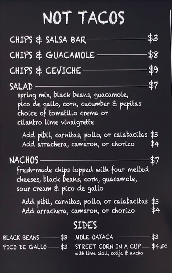 Barrio SLC menu - not tacos