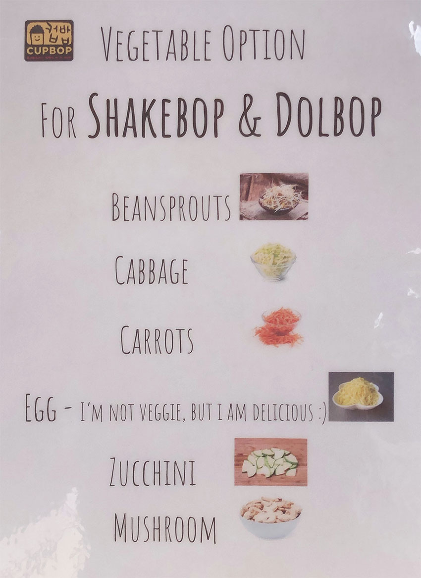 Cupbop menu - vegetarian