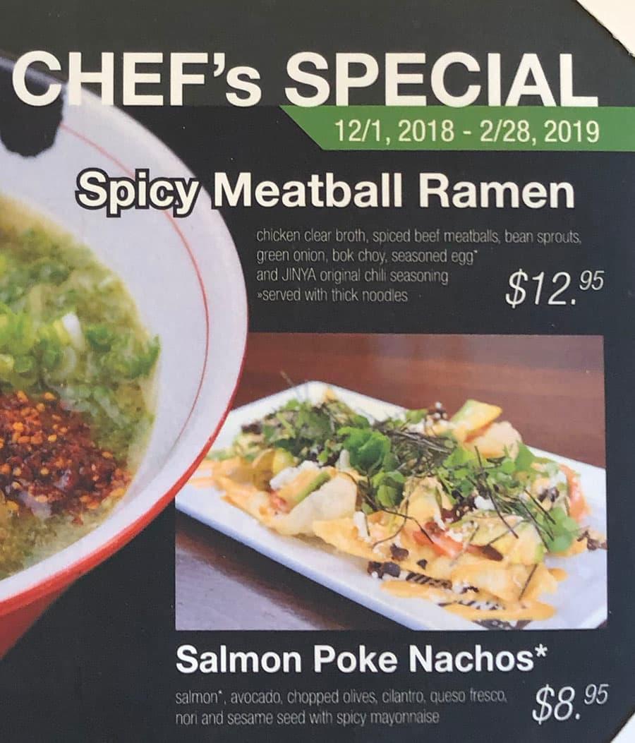 JINYA Ramen Bar menu - chefs special