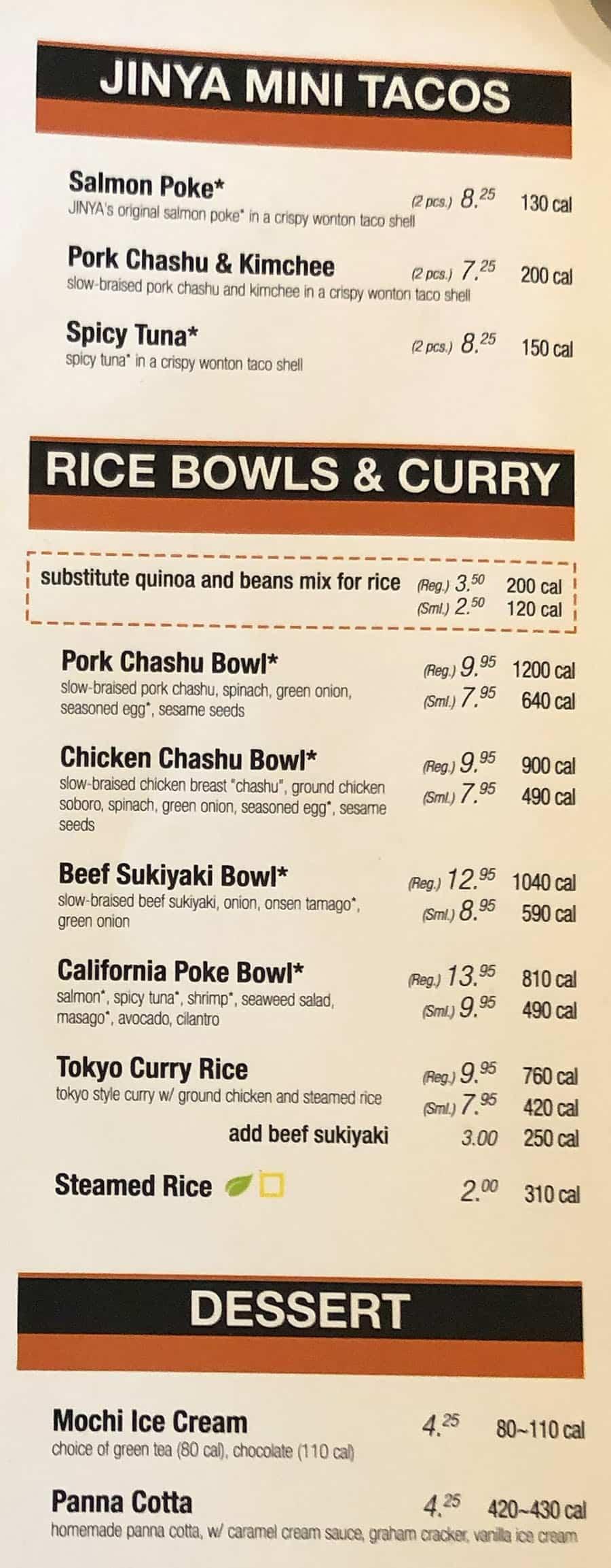 JINYA Ramen Bar menu - tacos, rice bowls, dessert
