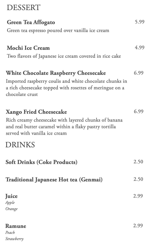 Kaze Sushi Bar And Grill menu - desserts, drinks