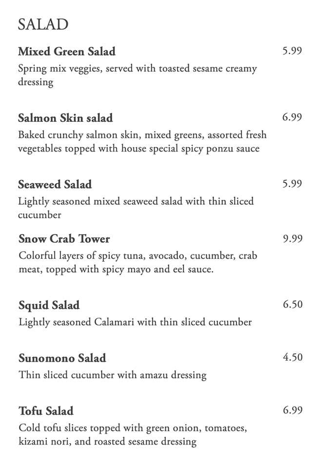 Kaze Sushi Bar And Grill menu - salads