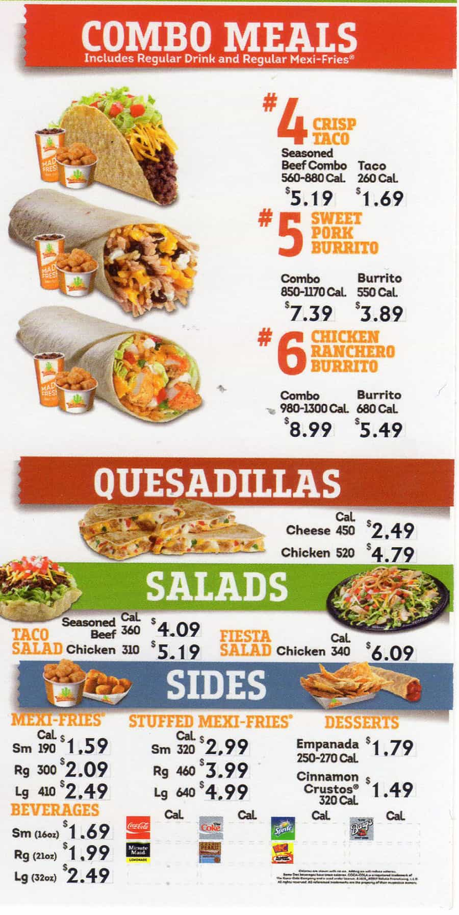 Taco Time menu - combo meals, quesadillas, salads, sides