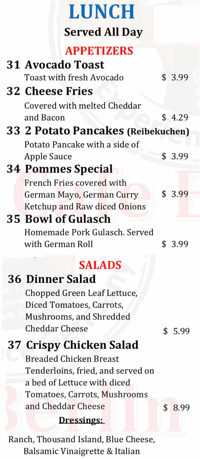 Cafe Berlin lunch menu - appetizers, salads
