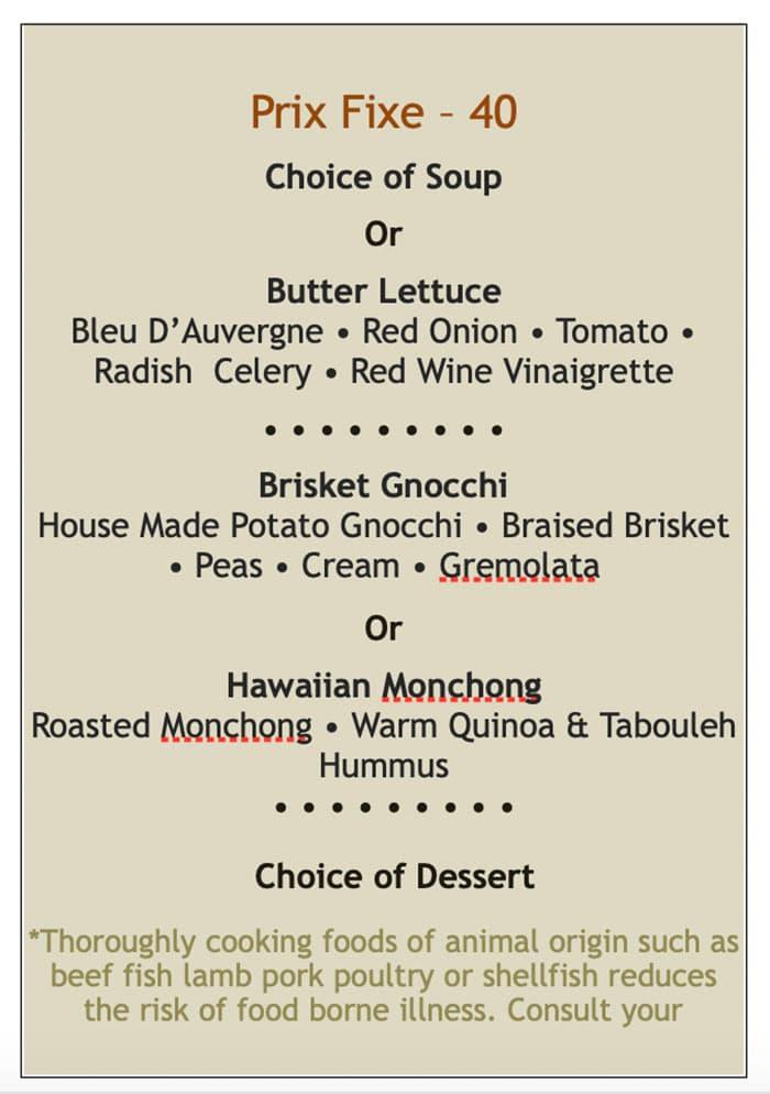 Martine Cafe dinner menu - prix fixe