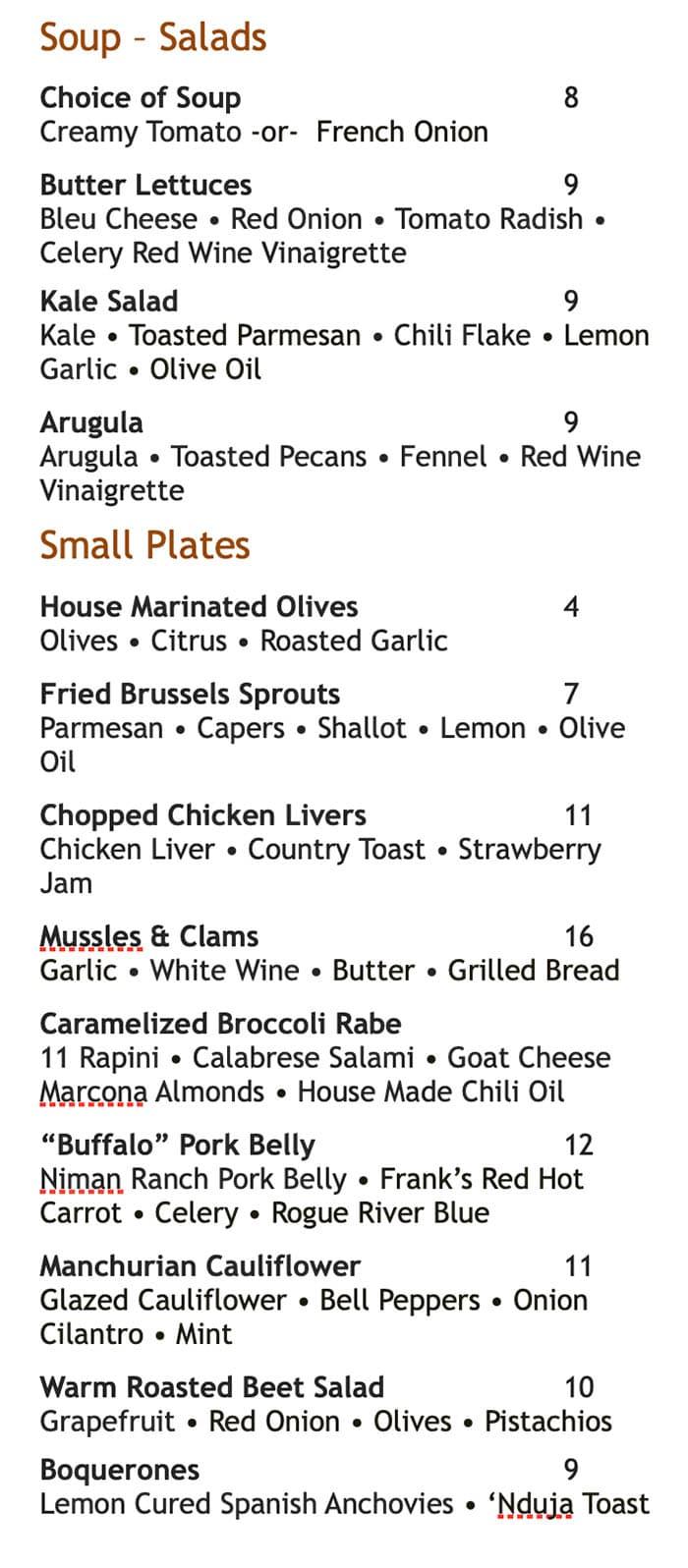 Martine Cafe dinner menu - soups, salads, small plates