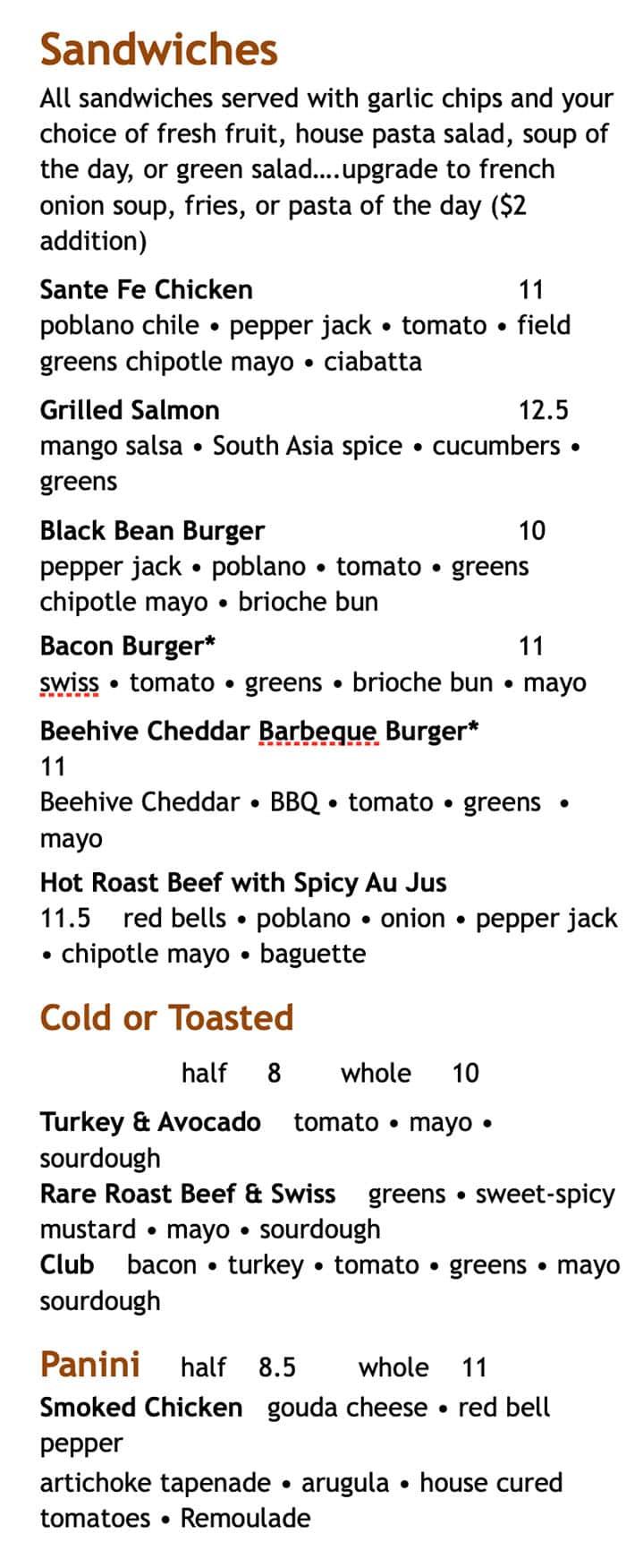 Martine Cafe lunch menu - sandwiches