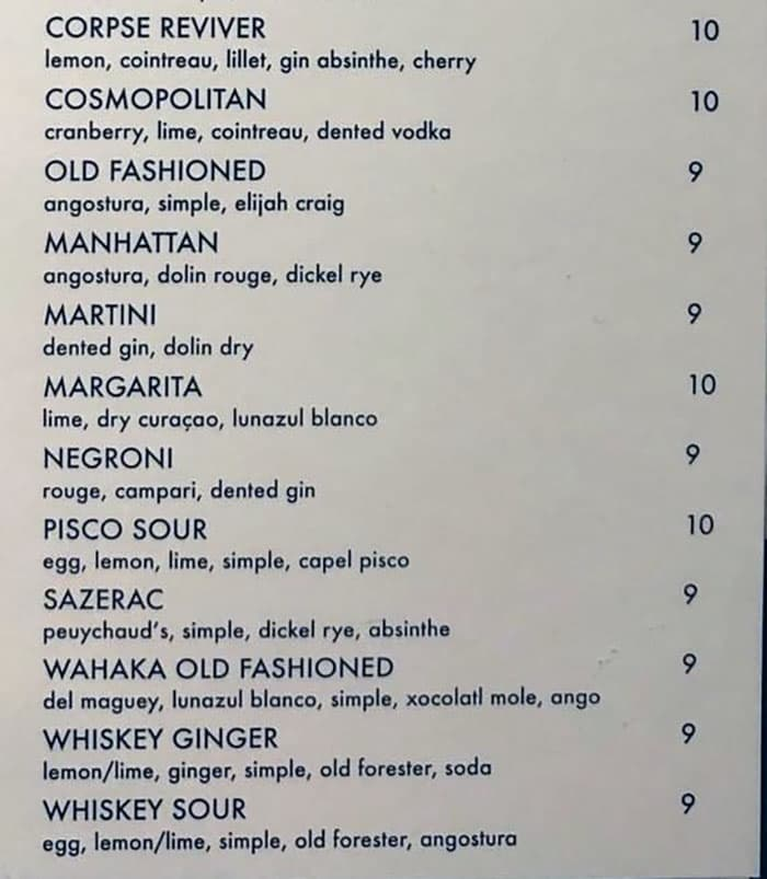The Riverbank Bar menu - cocktails continued