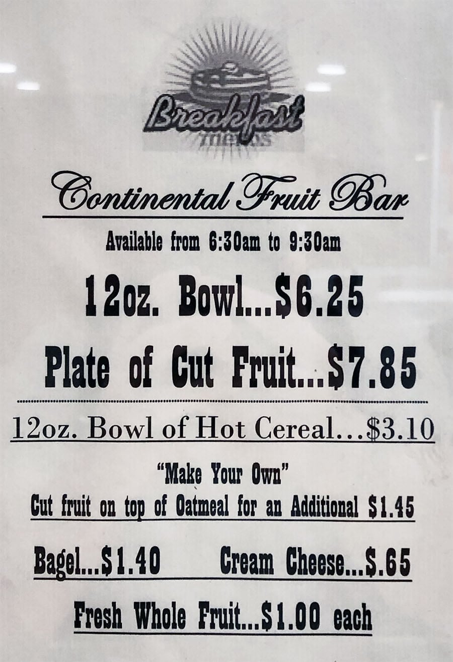 University Of Utah Hospital Cafeteria - fruit bar breakfast menu