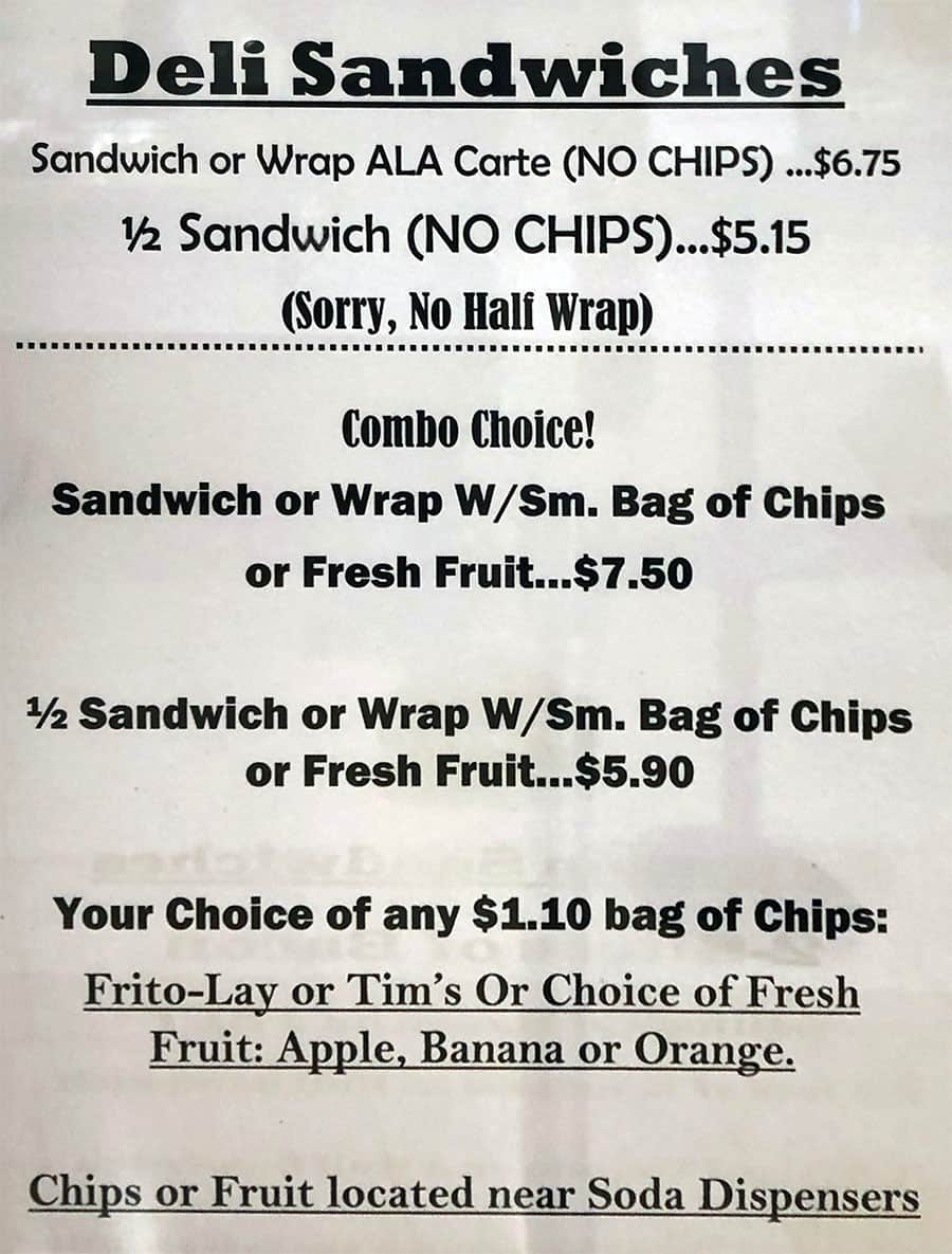 University Of Utah Hospital Cafeteria menu - deli sandwiches