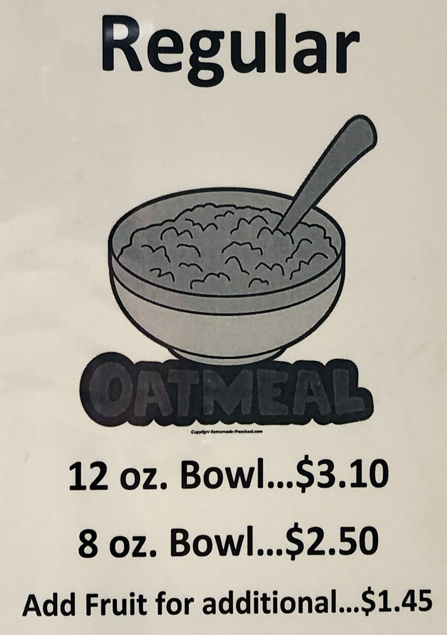 University Of Utah Hospital Cafeteria - oatmeal breakfast menu